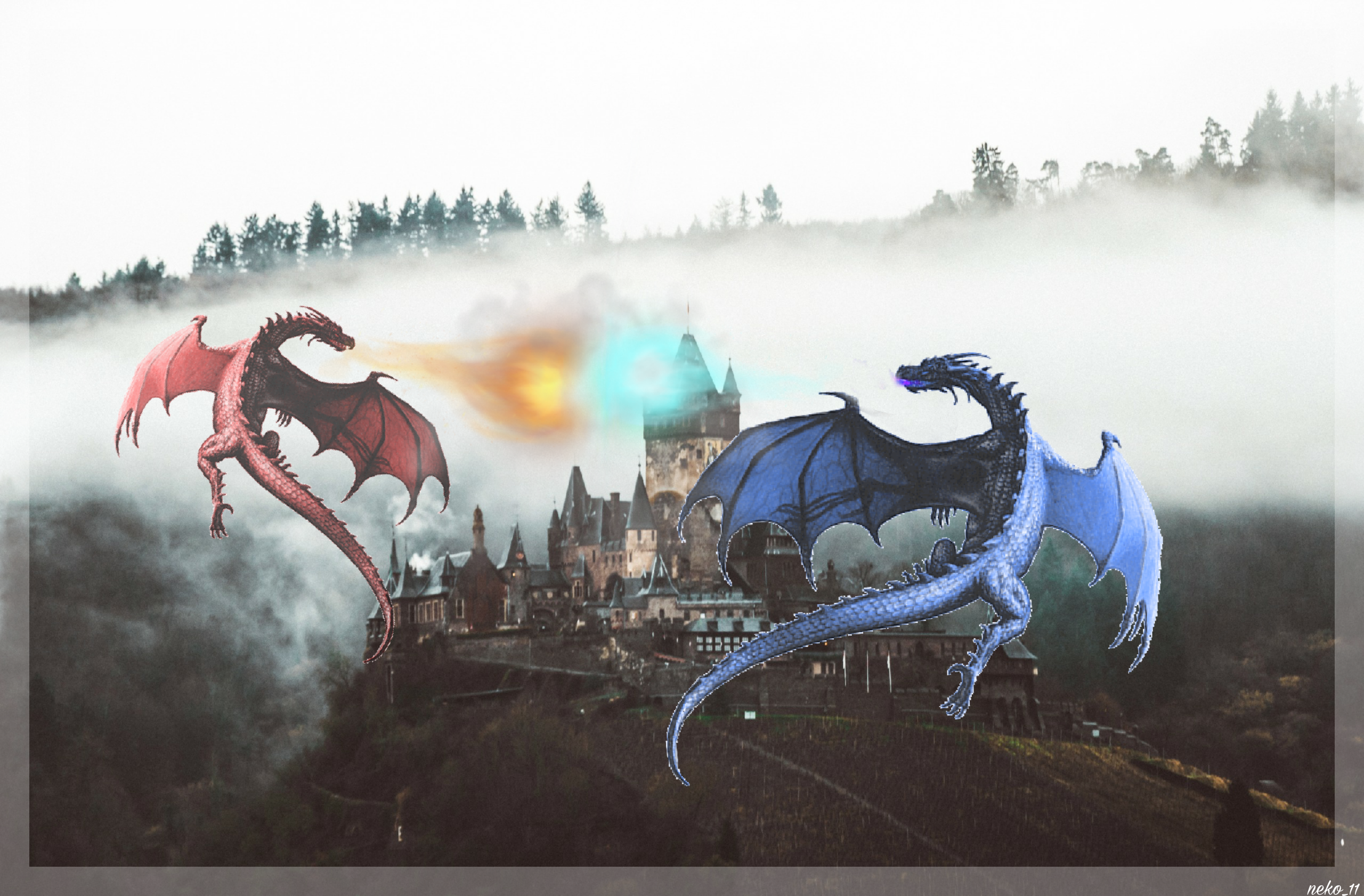 Dragons Castle War Fight Fire Ice Image By A R T