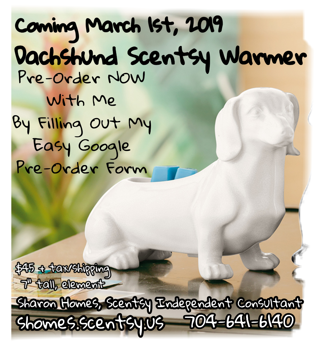 Coming March 1st 2019 Dachshund Scentsy Warmer