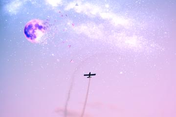 stars moon freetoedit airplaneremix