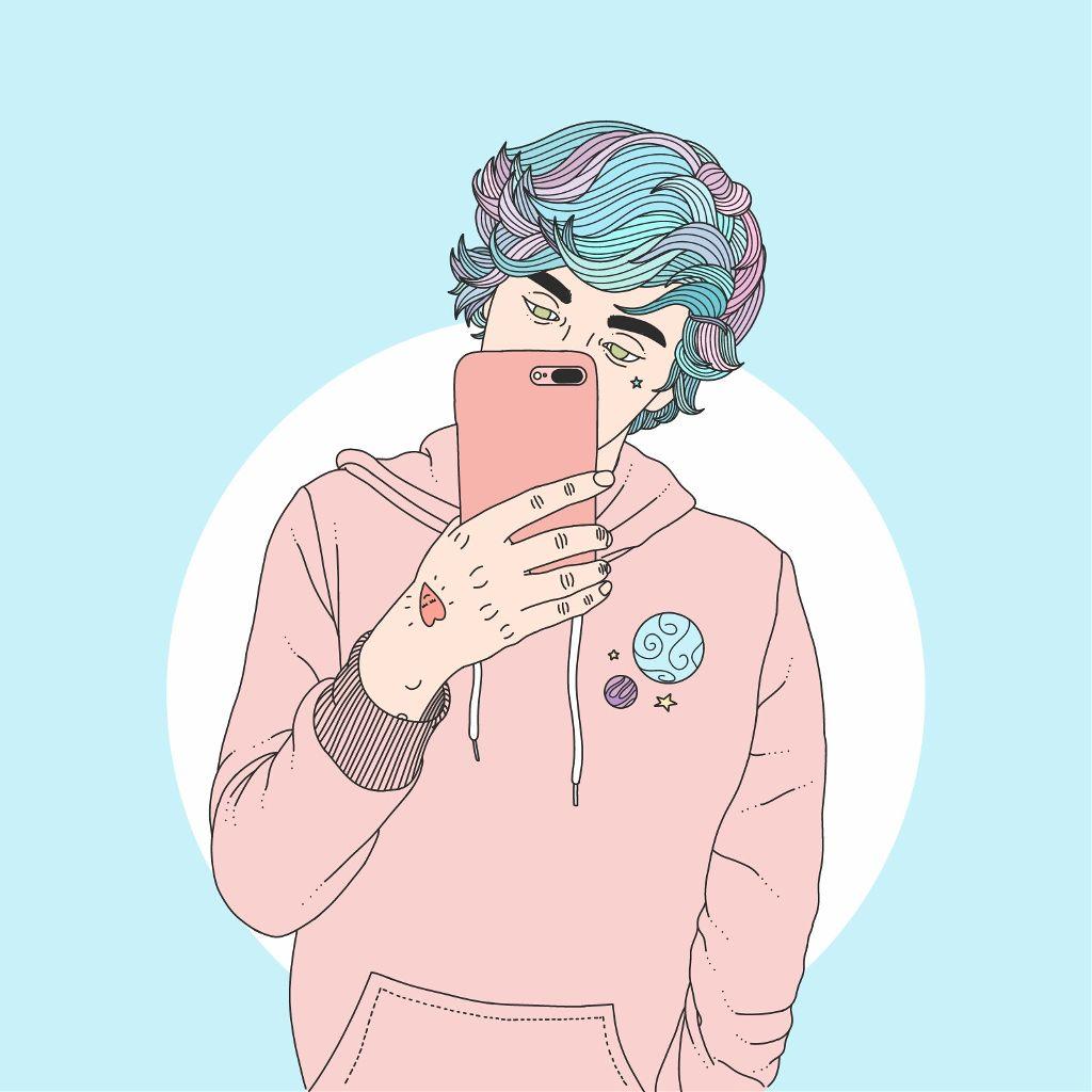 Freetoedit profilepic draw drawing tumblr cute boy pastel