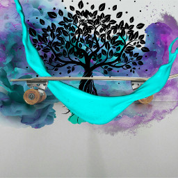 freetoedit skateboard tree colorful