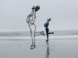 freetoedit girl beach happy jumpinggirl wapoutlines