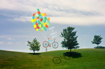 freetoedit ballons bicycle clouds sky