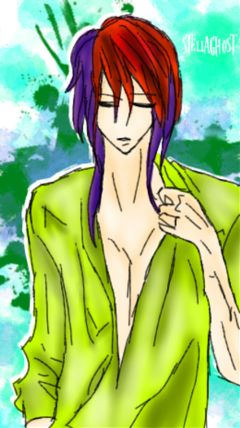 boy animeboy alien violet green