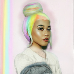 freetoedit hairbunremix rainbowlight pencileffect