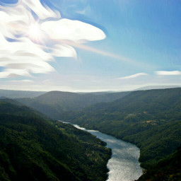 mountain river nature clouds sky