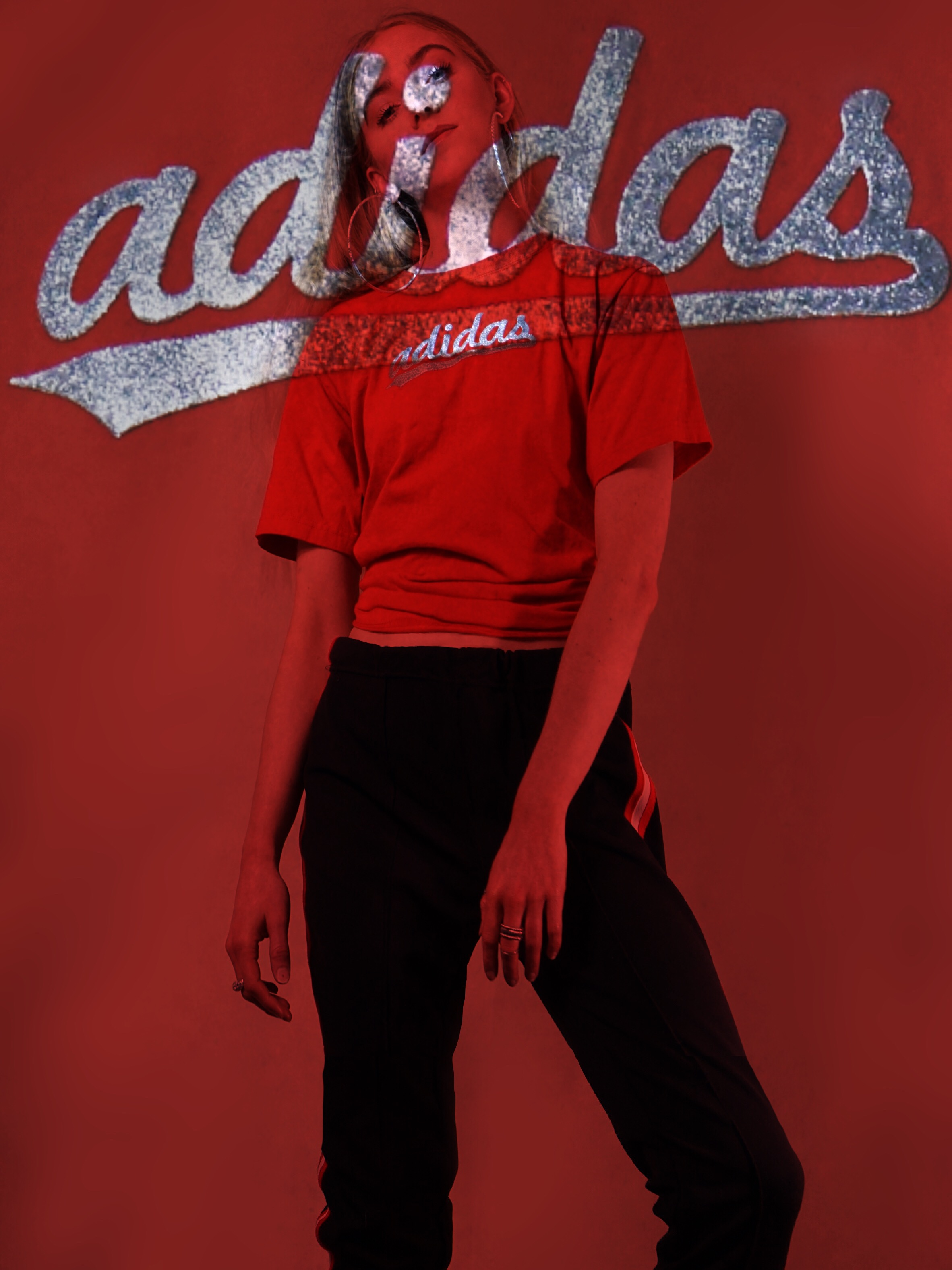 #FreeToEdit #adidas #glitter #vintage #retro #red #outfit #style #streetstyle #projection #tumblr #asos #tshirt #vintagetshirt #interesting #artsy #cool #v