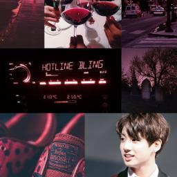 jungkook aesthetic burgundy red redaesthetic