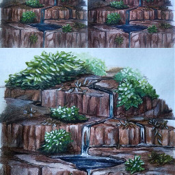 waterfall water drawing wip traditionalart