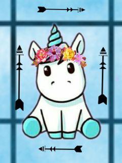 unicorn stickers arrows blue flowers