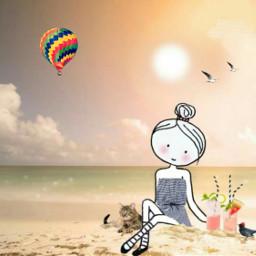 freetoedit hotairballoon mixedmedia beach