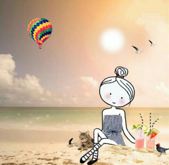#hotairballoon #mixedmedia #beach
