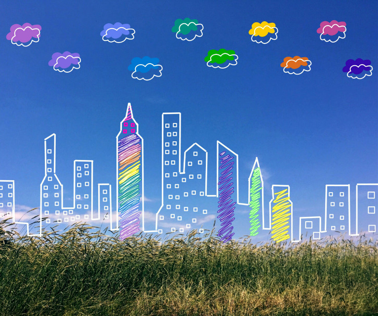 #outlines #spectrumedit #rainbowcolors #cityscape