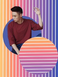 stripes circlehole gradient blue orange