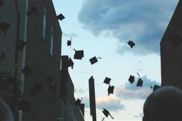 graduation caps silhouette town myphoto