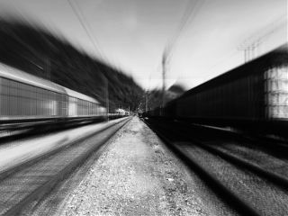 train rail blackandwhite