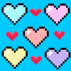 dailystickerremix pixelatedheartstickerremix love hearts colorful freetoedit