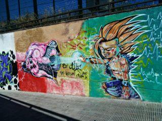 anime goku vs majinbuu graffiti freetoedit