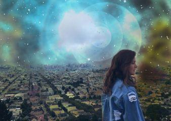 freetoedit girl galaxy city sky