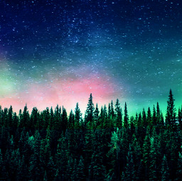 freetoedit remixed auroraborealis sky greenforestremix