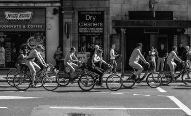 blackandwhite nude nudist people bicycle