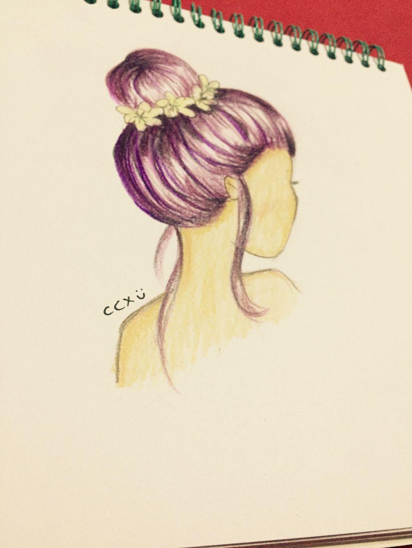 debbyarts drawing draw purplehair purple bun colorpenci