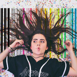 rainbow barcode beunique confetti girl freetoedit