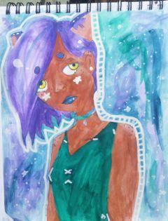 watercolor watercolour neko nekogirl galaxy