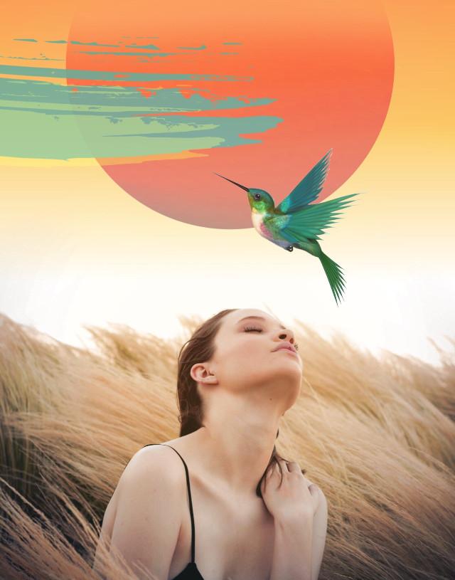 #freetoedit #girl #woman #prairie #nature #bird #sun #edited #myedit #stickersedit #madewithpicsart