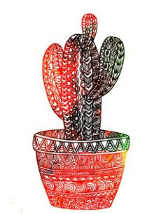 cactus zentangle hipster succulents colorful