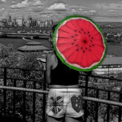 blackandwhite umbrella red watermelon pople freetoedit