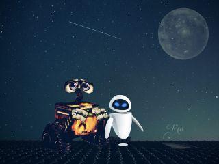 starry shootingstar moon wall-e eve freetoedit