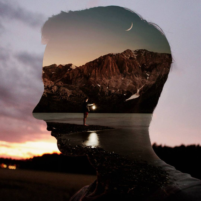 Lights in the darkness.  #night #moon #doubleexposure #silhouette #edited #surreal #surrealism op: unsplash.com