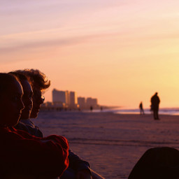 beach sunrise warm silhouette freetoedit