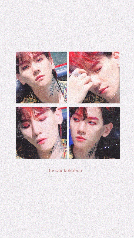 Freetoedit Exo Thewarexo Kokobop Baekhyun Red Wallpaper
