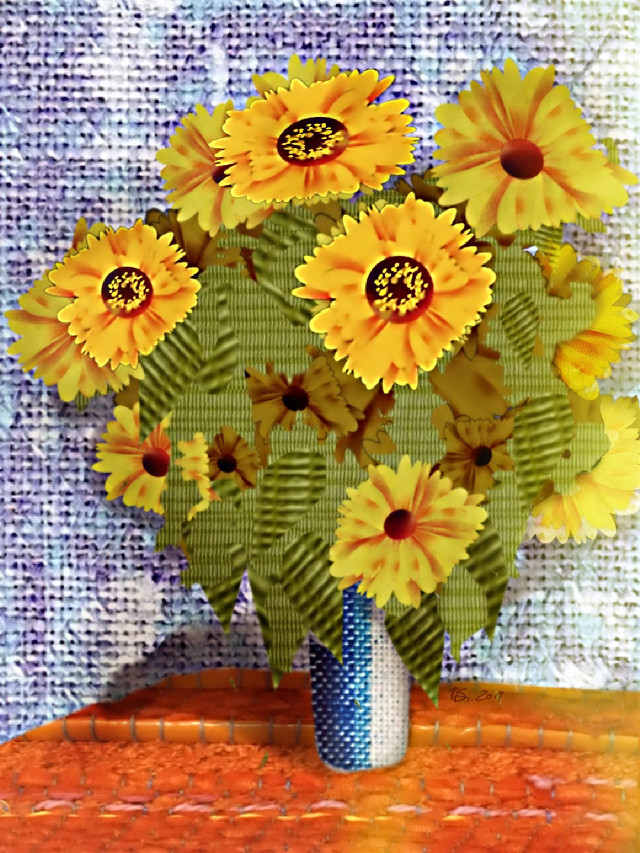 "#collage #smashups #fabric #flowers #sunflowers #bouquet #monet #claudemonet My take on ""Bouquet of Sunflowers"" by Claude Monet  https://picsart.com/blog/post/smashups-remixing-next-level/ @pafreetoedit  Fabric for collage was from the Picsart free-to-edit files"