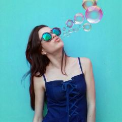 freetoedit bubbles girl glasses blowing