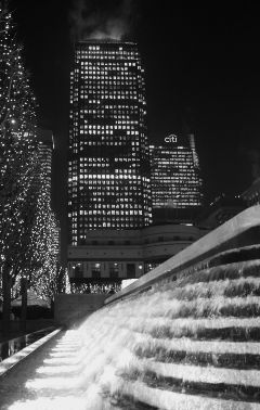 waterfall skyscraper city night london