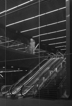 empty escalator night city london