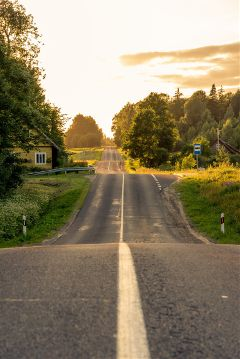 road lithuania nature sunset
