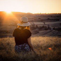 field summer sunset scene travel freetoedit