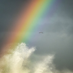 rainyday rainbow colorful sea stormy freetoedit