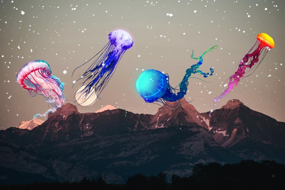 #freetoedit #jellyfish #moon #stars #space #mountains #dramaeffect #madewithpicsart #stickers #art #picsart