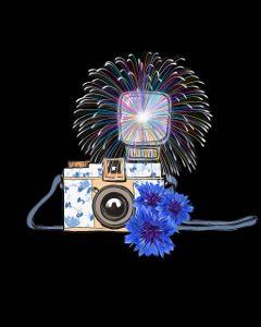 vintage camera vintagecamera fireworks blueflowers