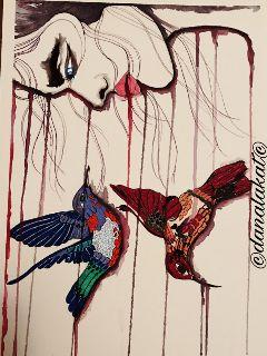 art drawing painting portrait hummingbirds