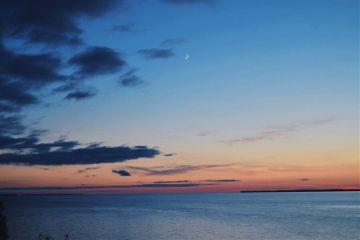freetoedit sunset sky clouds moon