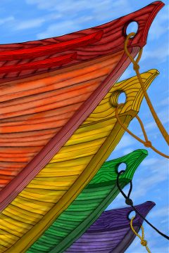 inspiredby drawing colorful boats rope