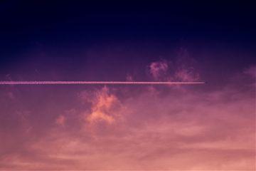 plane horizon surreal pretty clouds