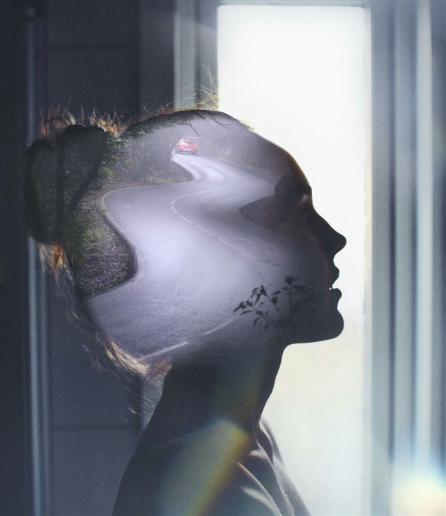 The mind's path #road #doubleexposure #doubleexposureart #street #girl #face #person #human #silhouette #shadow #model #nature @pa @freetoedit #doubleexposurecontest #wapdoubleexposures