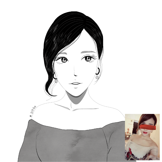 #freetoedit #illustration #painting #portrait #blackwhite #normcore #normcoreillustration #girl #beauty